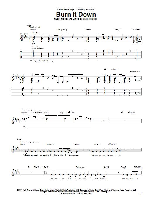 Alter Bridge Burn It Down sheet music notes printable PDF score