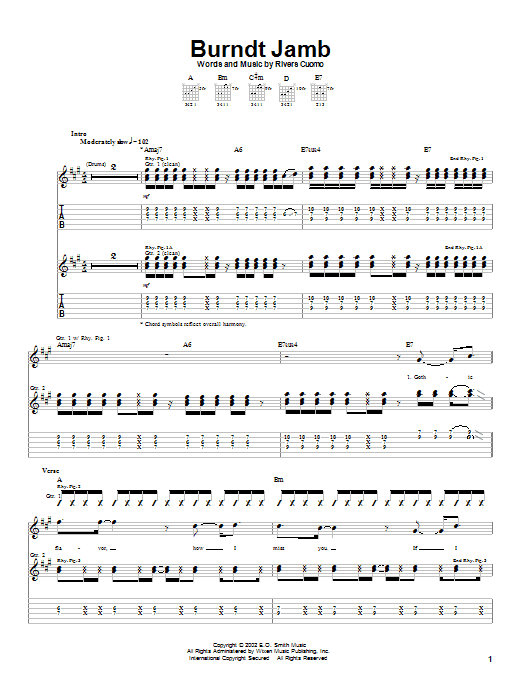 Weezer Burndt Jamb sheet music notes printable PDF score