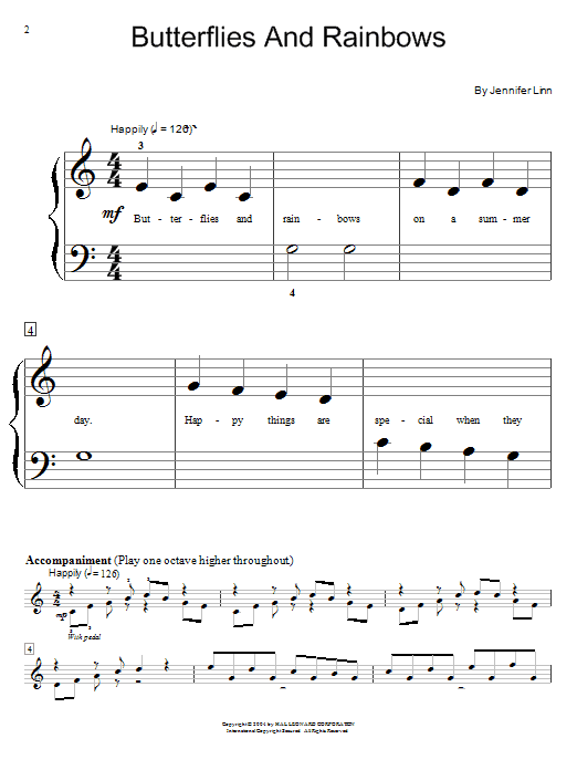 Jennifer Linn Butterflies And Rainbows sheet music notes printable PDF score
