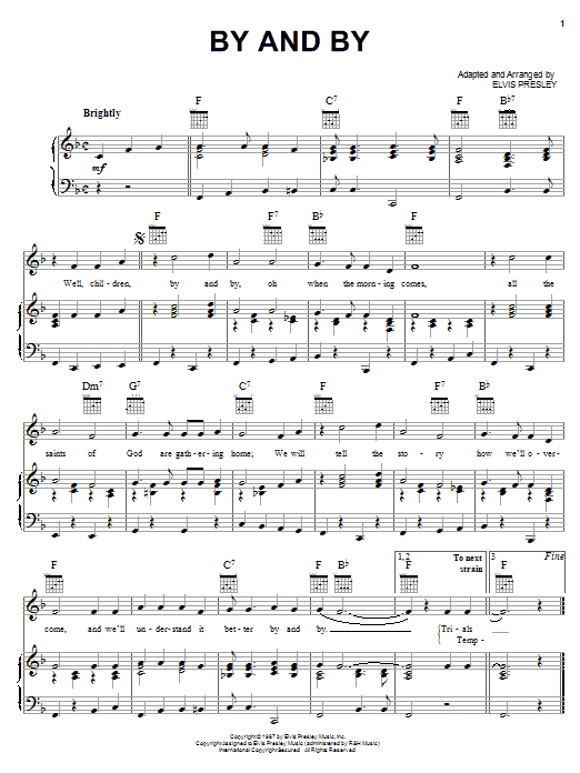 Elvis Presley By And By sheet music notes printable PDF score
