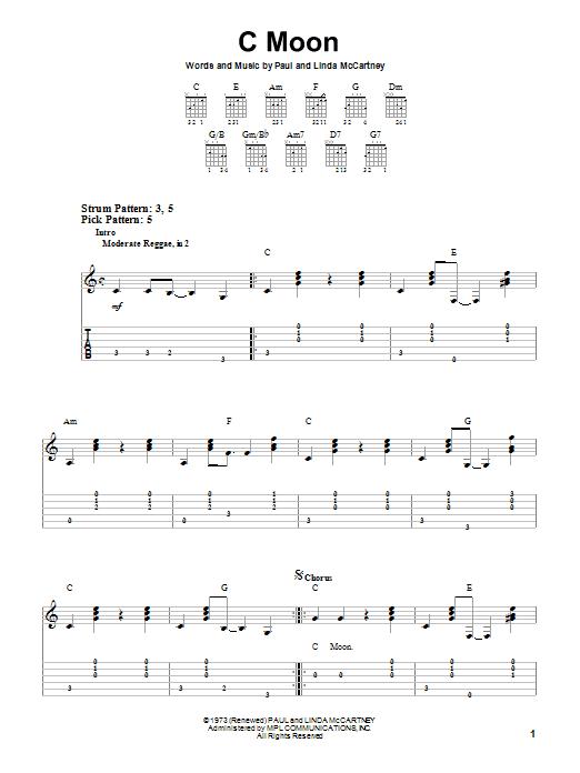 Paul McCartney C Moon sheet music notes printable PDF score