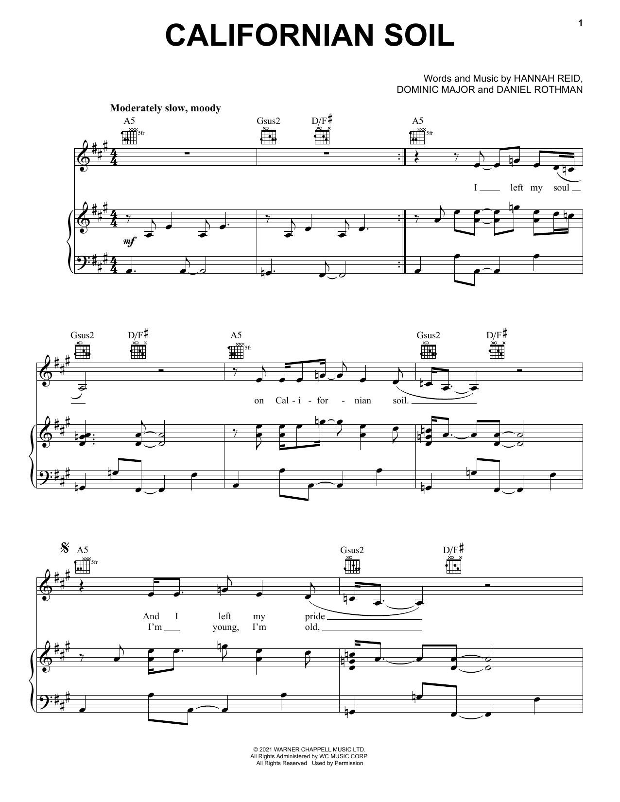 London Grammar Californian Soil sheet music notes printable PDF score