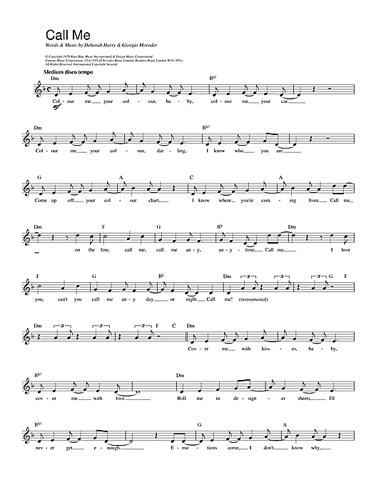 Blondie Call Me sheet music notes printable PDF score