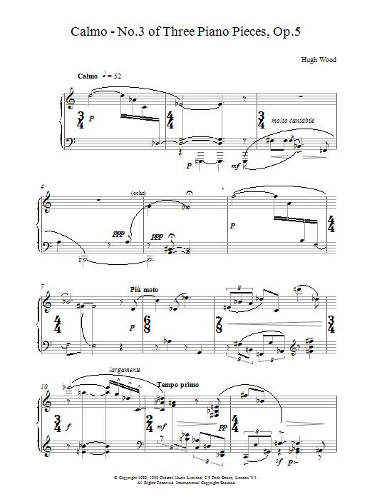 Hugh Wood Calmo Op.5 sheet music notes printable PDF score