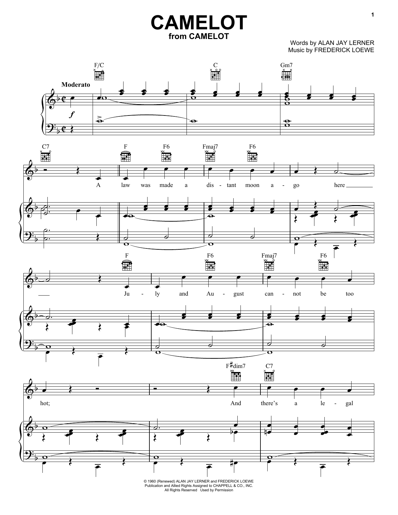 Richard Burton Camelot sheet music notes printable PDF score