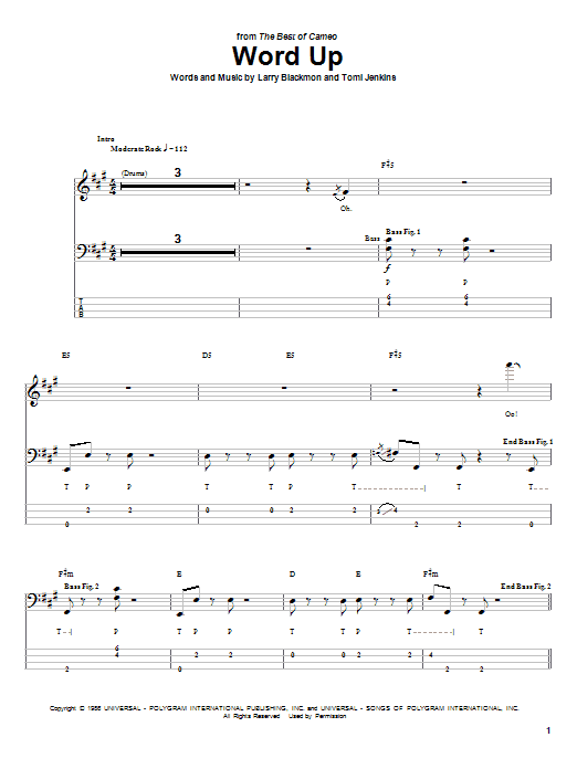 Cameo Word Up sheet music notes and chords. Download Printable PDF.
