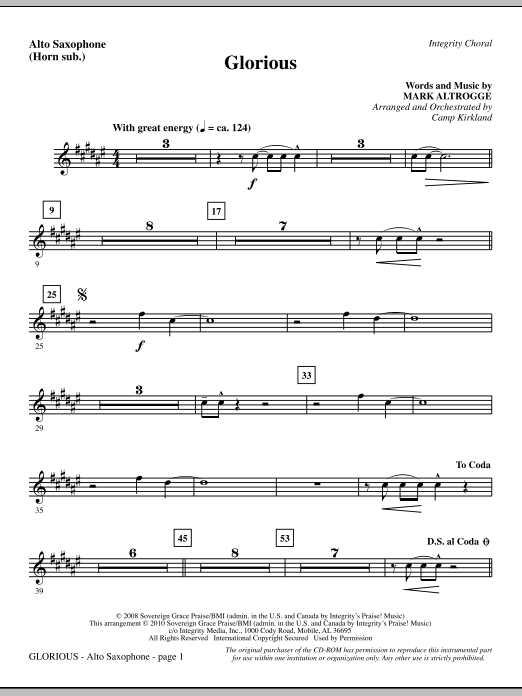 Camp Kirkland Glorious - Alto Sax (sub. Horn) sheet music notes printable PDF score