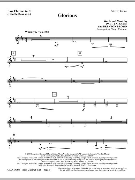 Camp Kirkland Glorious - Bass Clar. (Double Bass sub.) sheet music notes printable PDF score