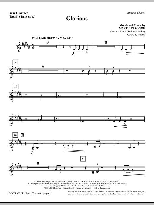 Camp Kirkland Glorious - Bass Clarinet (sub. dbl bass) sheet music notes printable PDF score
