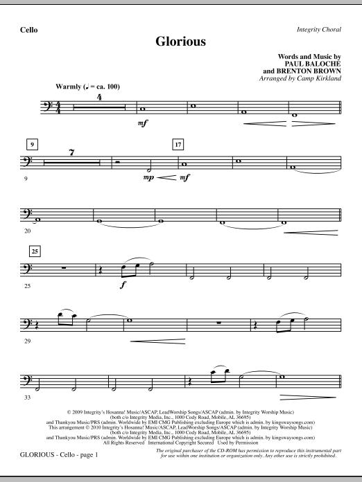 Camp Kirkland Glorious - Cello sheet music notes printable PDF score