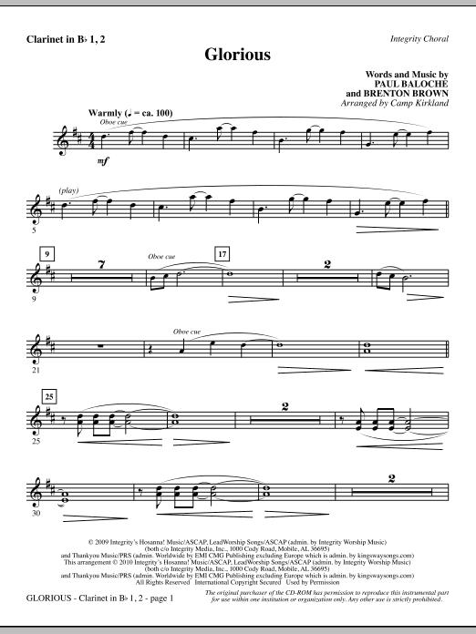 Camp Kirkland Glorious - Clarinet 1 & 2 sheet music notes printable PDF score