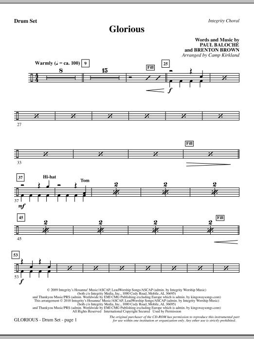 Camp Kirkland Glorious - Drum Set sheet music notes printable PDF score