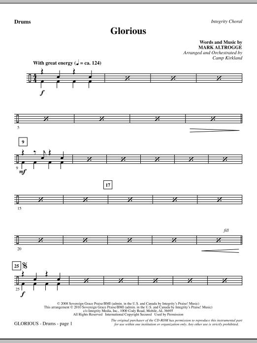 Camp Kirkland Glorious - Drums sheet music notes printable PDF score