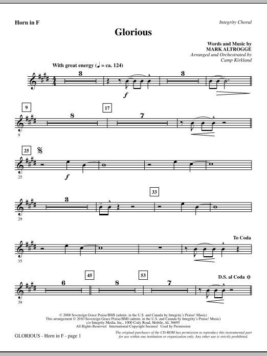 Camp Kirkland Glorious - F Horn sheet music notes printable PDF score
