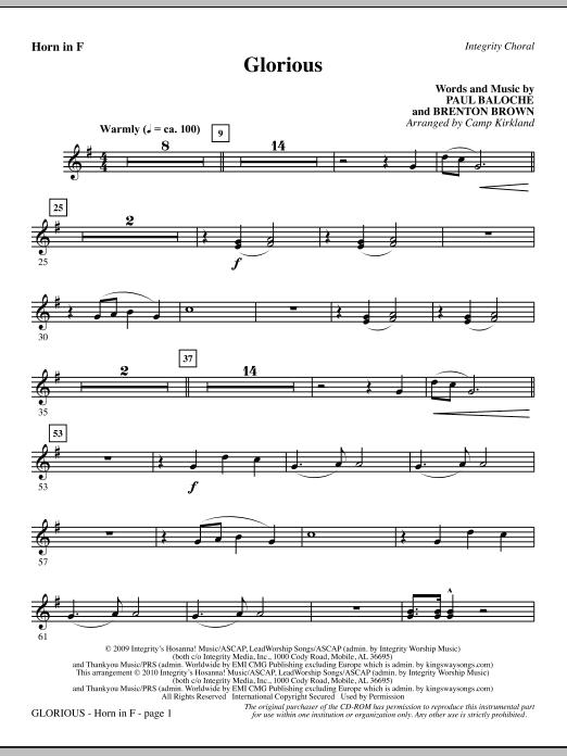 Camp Kirkland Glorious - F Horn 1 sheet music notes printable PDF score
