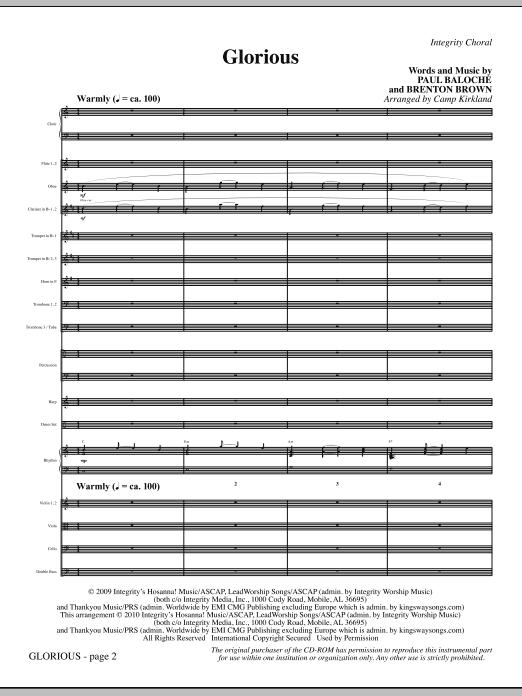 Camp Kirkland Glorious - Full Score sheet music notes printable PDF score
