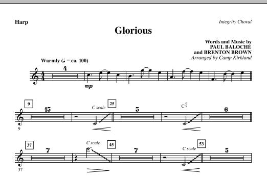 Camp Kirkland Glorious - Harp sheet music notes printable PDF score