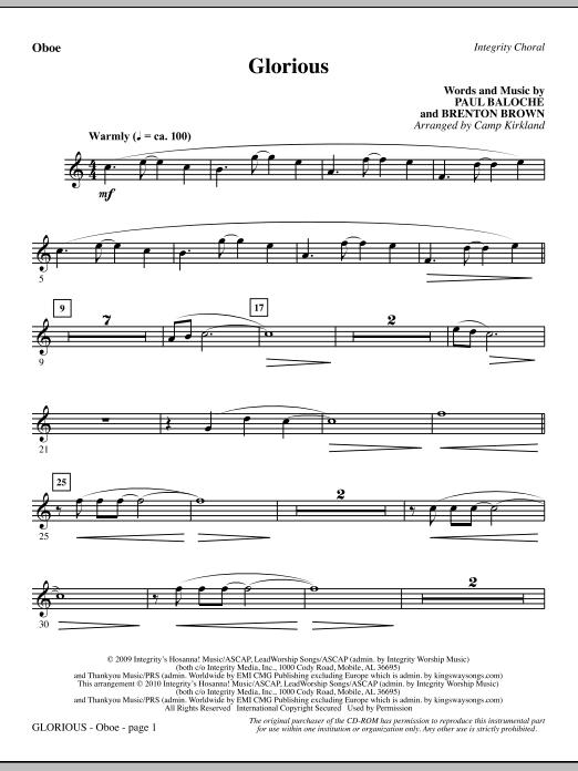 Camp Kirkland Glorious - Oboe sheet music notes printable PDF score