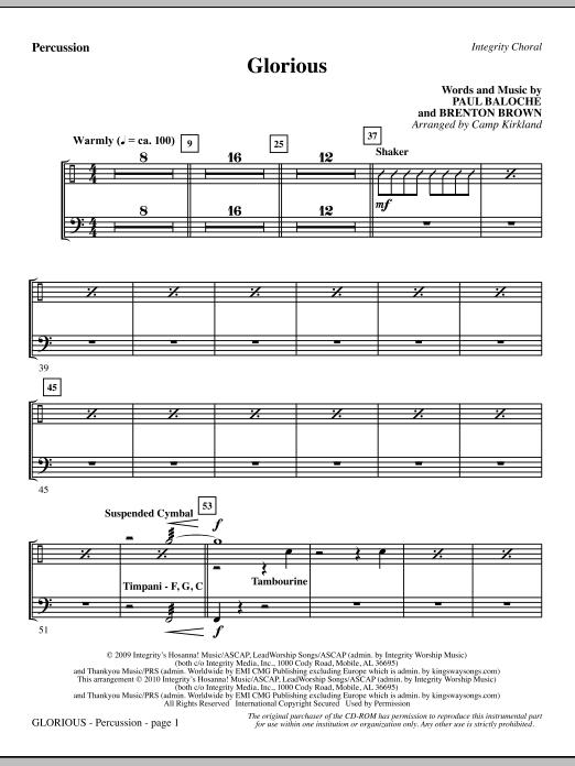 Camp Kirkland Glorious - Percussion sheet music notes printable PDF score