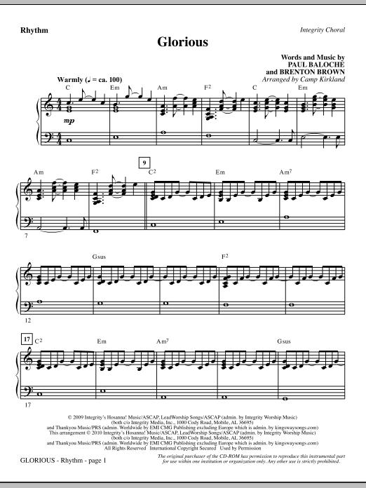 Camp Kirkland Glorious - Rhythm sheet music notes printable PDF score