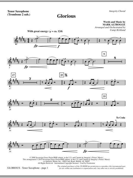 Camp Kirkland Glorious - Tenor Sax (sub. Tbn 2) sheet music notes printable PDF score