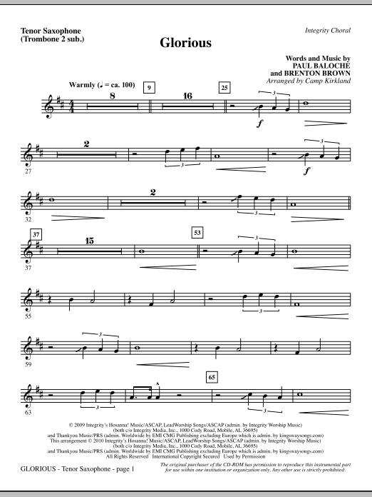 Camp Kirkland Glorious - Tenor Sax (Trombone 2 sub.) sheet music notes printable PDF score