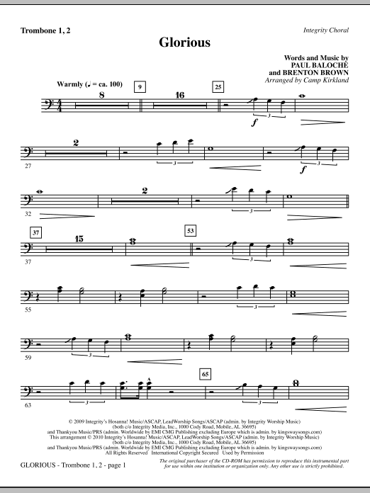 Camp Kirkland Glorious - Trombone 1 & 2 sheet music notes printable PDF score