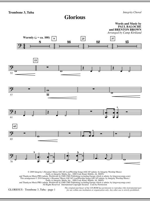 Camp Kirkland Glorious - Trombone 3/Tuba sheet music notes printable PDF score