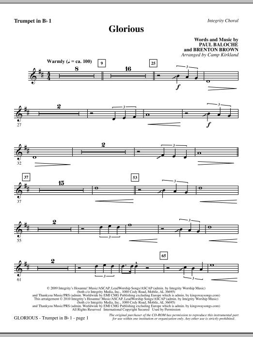 Camp Kirkland Glorious - Trumpet 1 sheet music notes printable PDF score