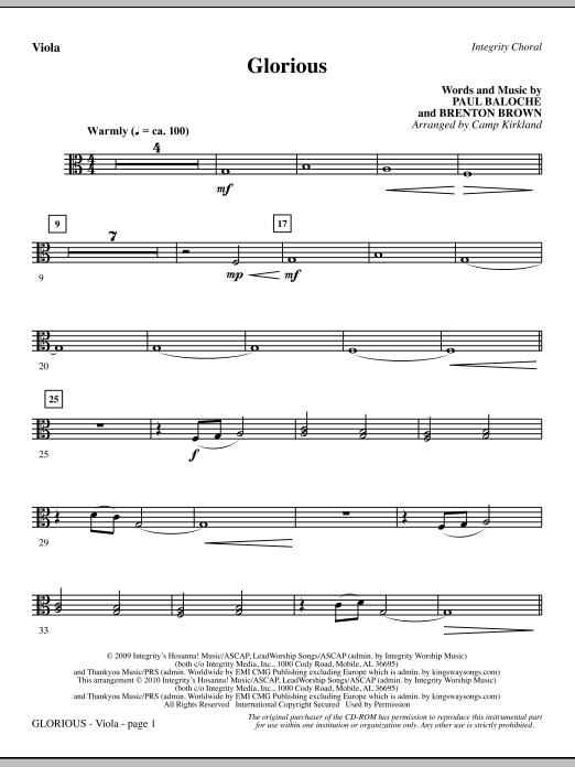 Camp Kirkland Glorious - Viola sheet music notes printable PDF score