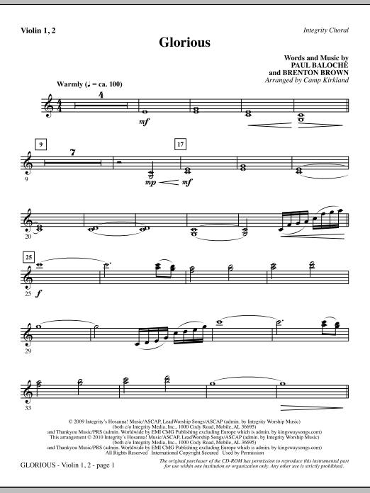 Camp Kirkland Glorious - Violin 1, 2 sheet music notes printable PDF score