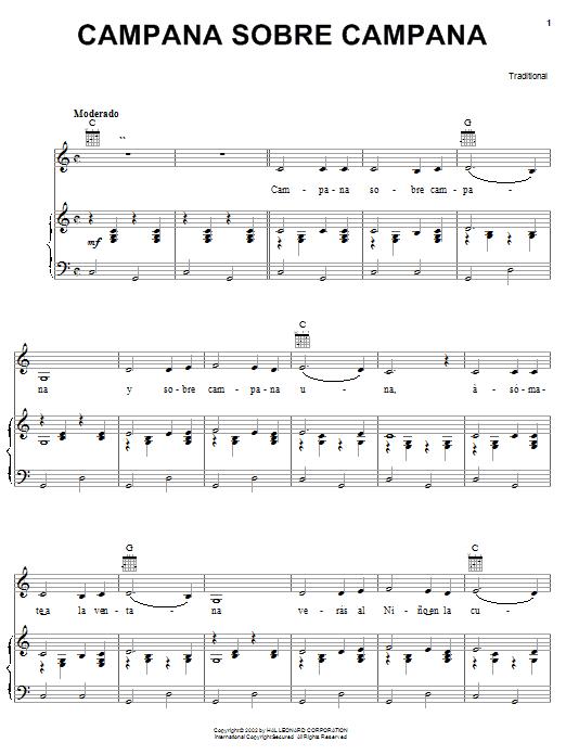 Traditional Carol Campana Sobre Campana sheet music notes printable PDF score