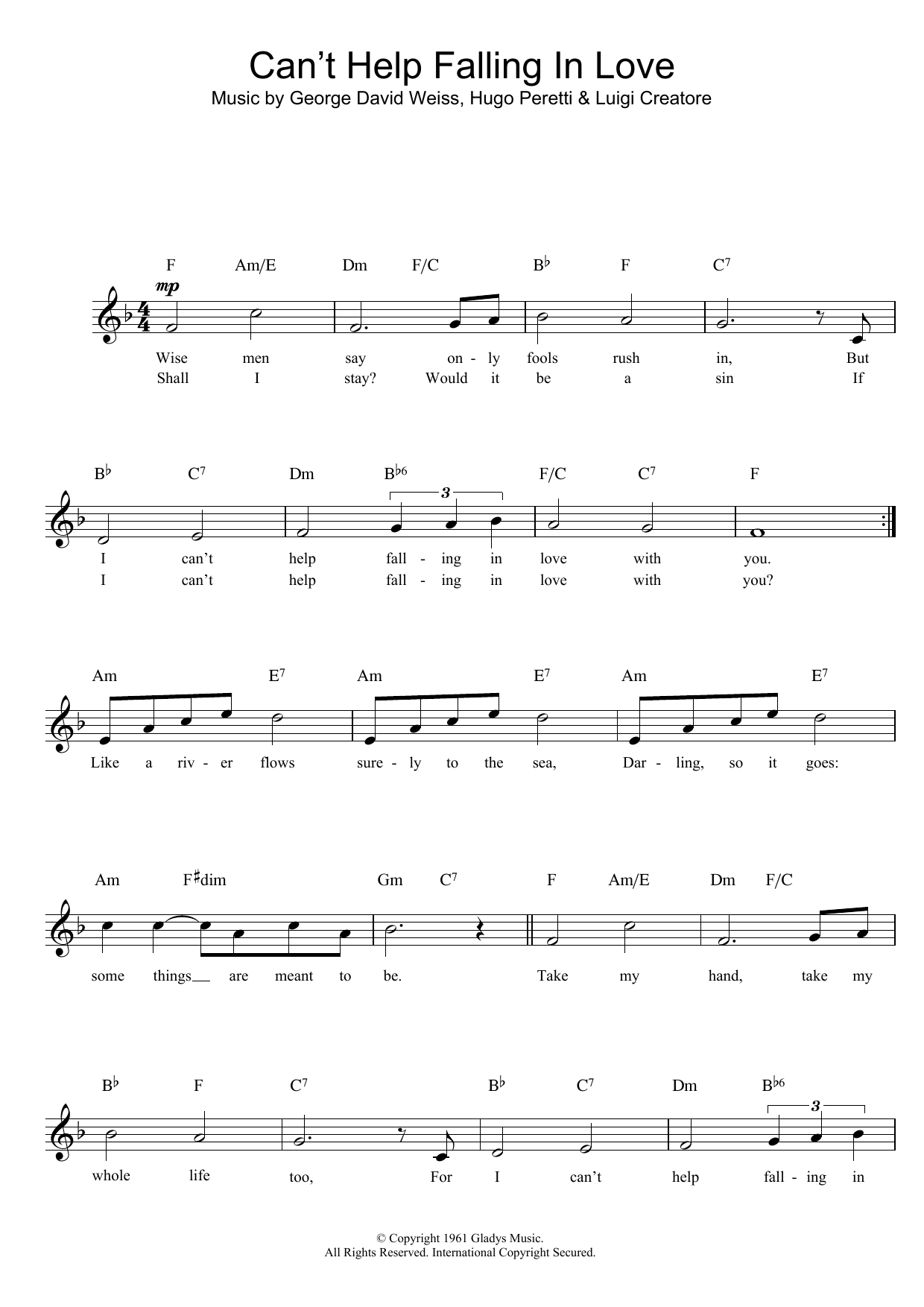 UB40 Can't Help Falling In Love sheet music notes printable PDF score