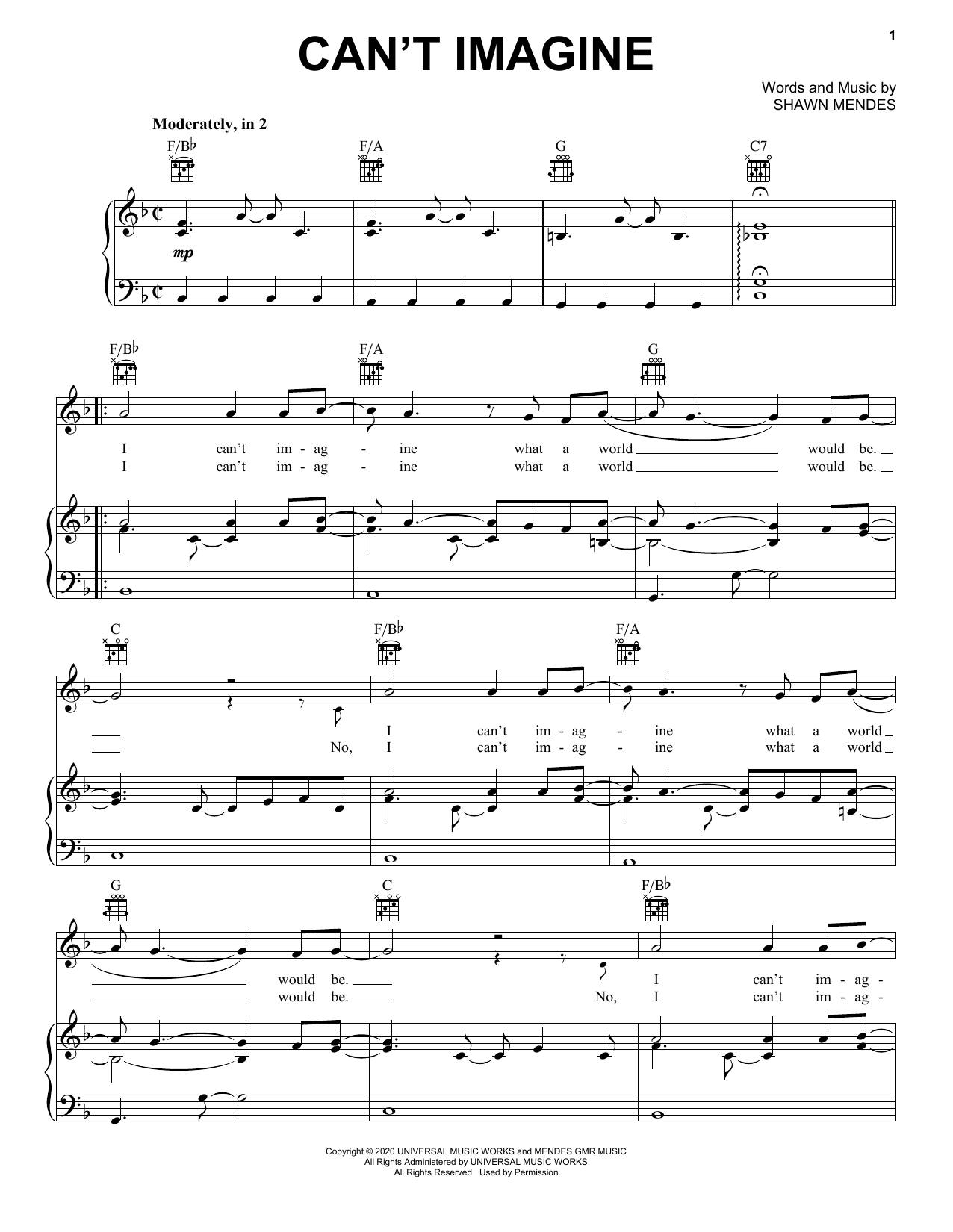 Shawn Mendes Can't Imagine sheet music notes printable PDF score