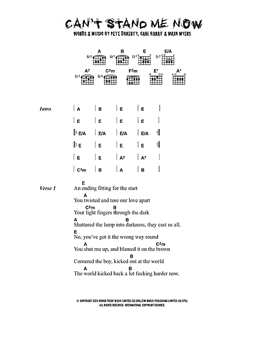 The Libertines Can't Stand Me Now sheet music notes printable PDF score