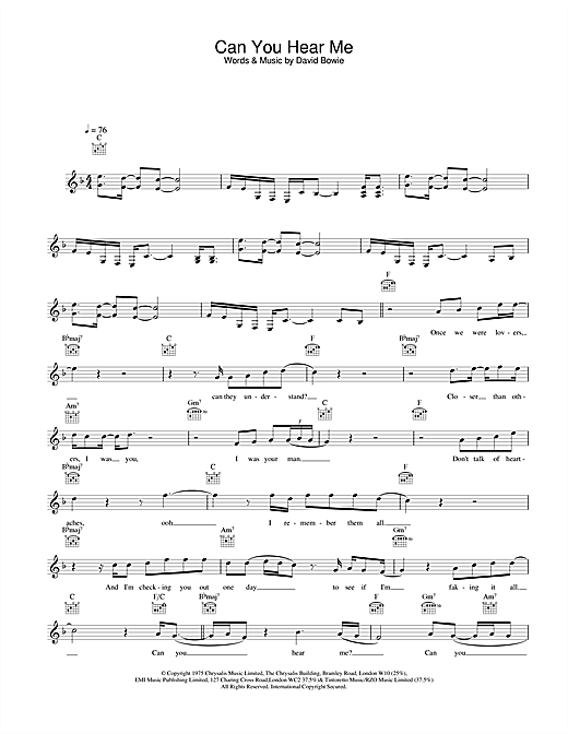 David Bowie Can You Hear Me sheet music notes printable PDF score