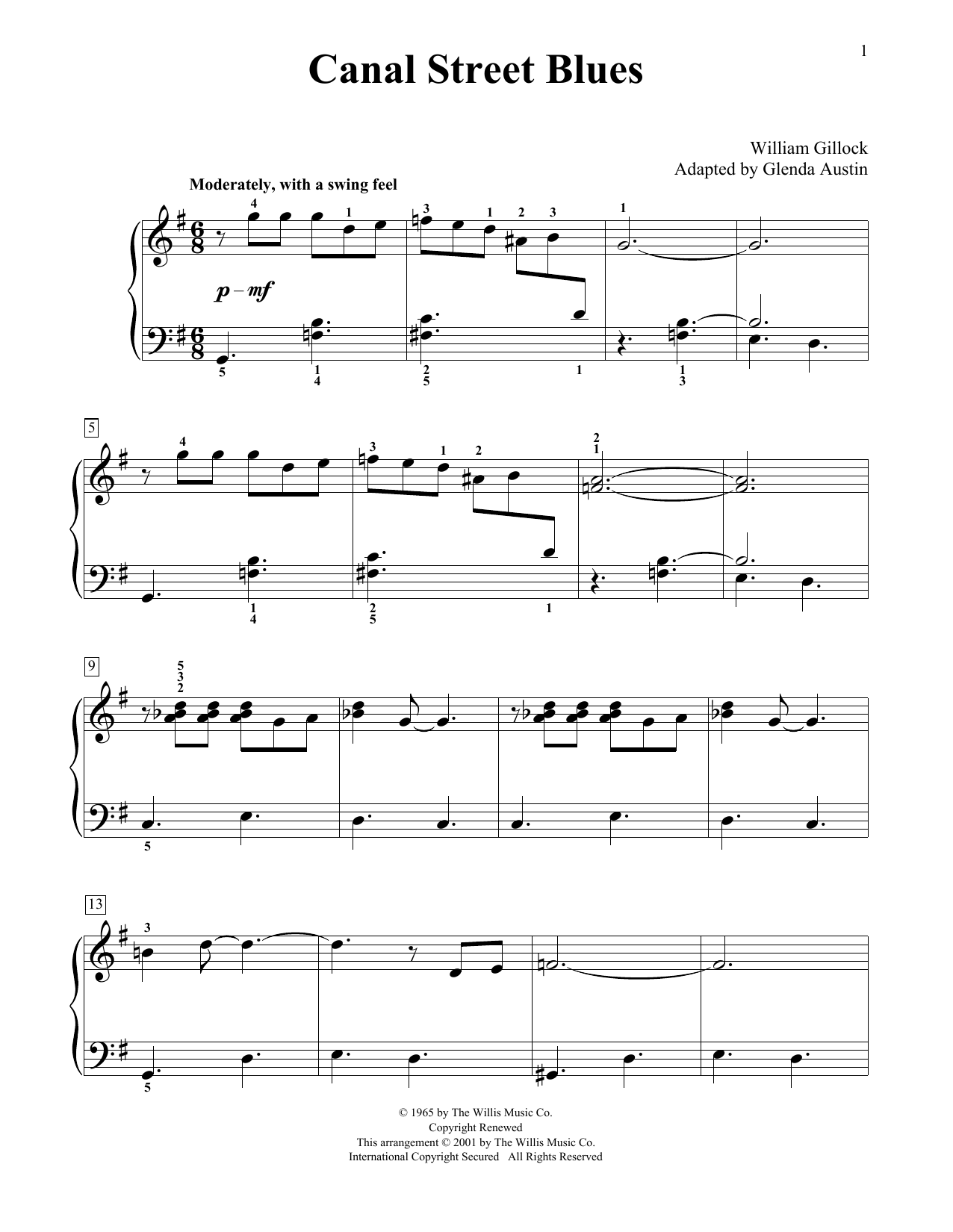 William Gillock Canal Street Blues (Simplified) (adapted by Glenda Austin) sheet music notes printable PDF score