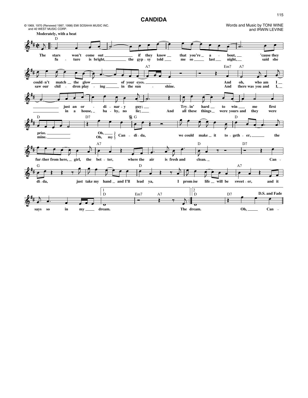The Dawn & Tony Orlando Candida sheet music notes printable PDF score