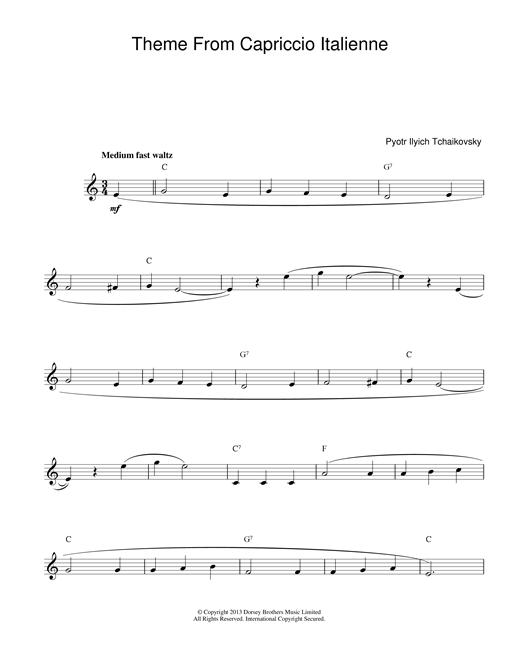 Pyotr Ilyich Tchaikovsky Capriccio Italienne sheet music notes printable PDF score