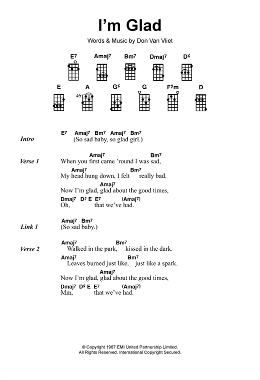 Captain Beefheart I'm Glad sheet music notes and chords - download printable PDF.
