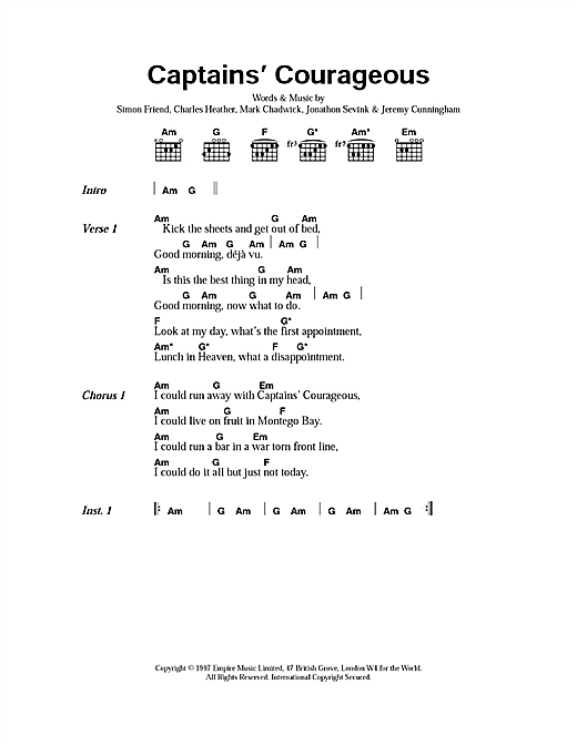 The Levellers Captain's Courageous sheet music notes printable PDF score