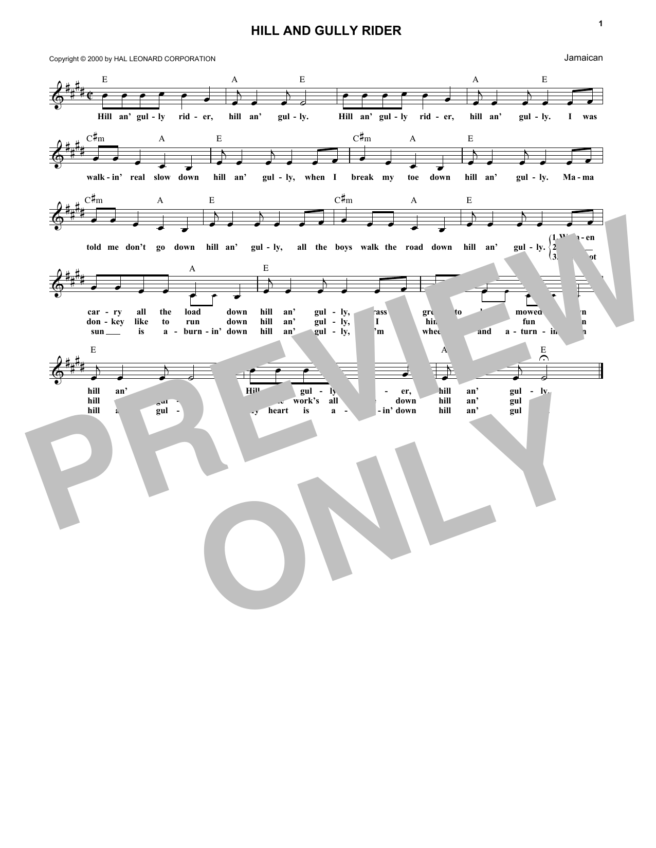 Caribbean Hill And Gully Rider sheet music notes and chords - download printable PDF.