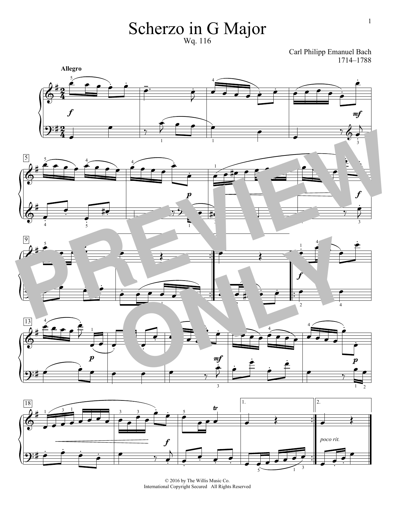 Carl Philipp Emanuel Bach Scherzo In G Major, Wq. 116 sheet music notes and chords. Download Printable PDF.