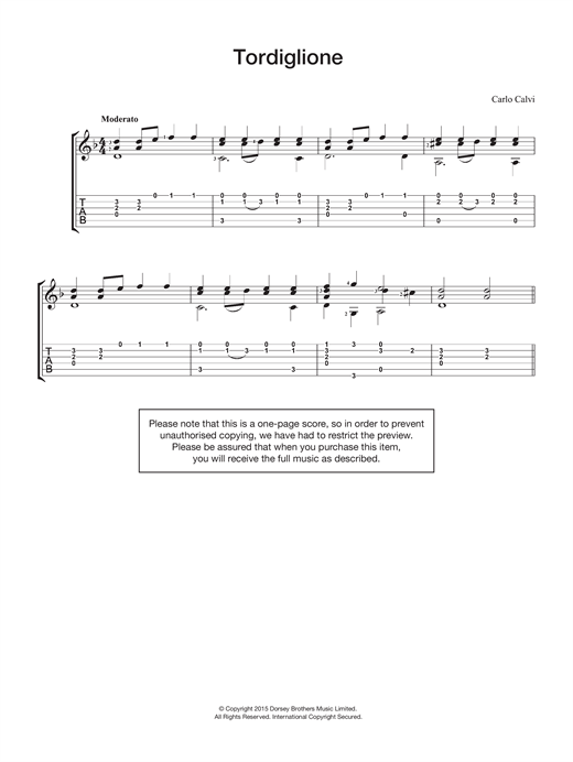 Carlo Calvi Tordiglione sheet music notes and chords. Download Printable PDF.
