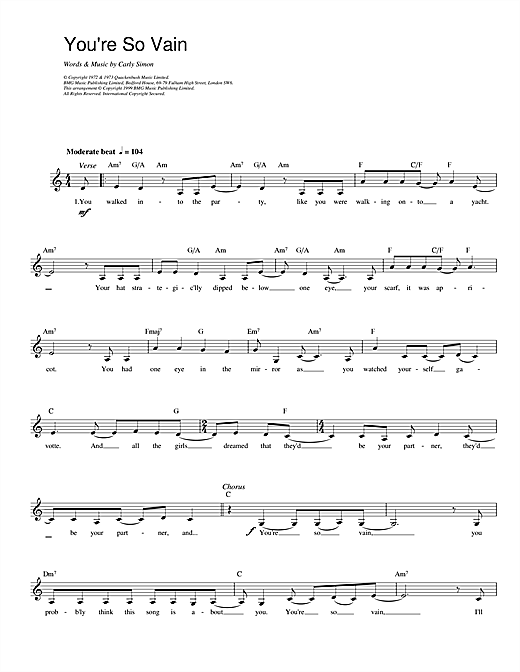 Carly Simon You're So Vain sheet music notes and chords - download printable PDF.