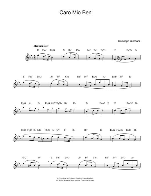 Giuseppe Giordani Caro Mio Ben sheet music notes printable PDF score