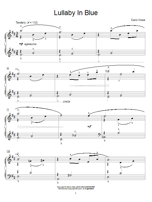 Carol Klose Lullaby In Blue sheet music notes and chords. Download Printable PDF.