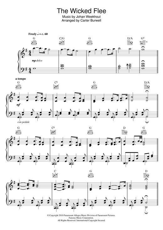 Carter Burwell The Wicked Flee sheet music notes and chords. Download Printable PDF.