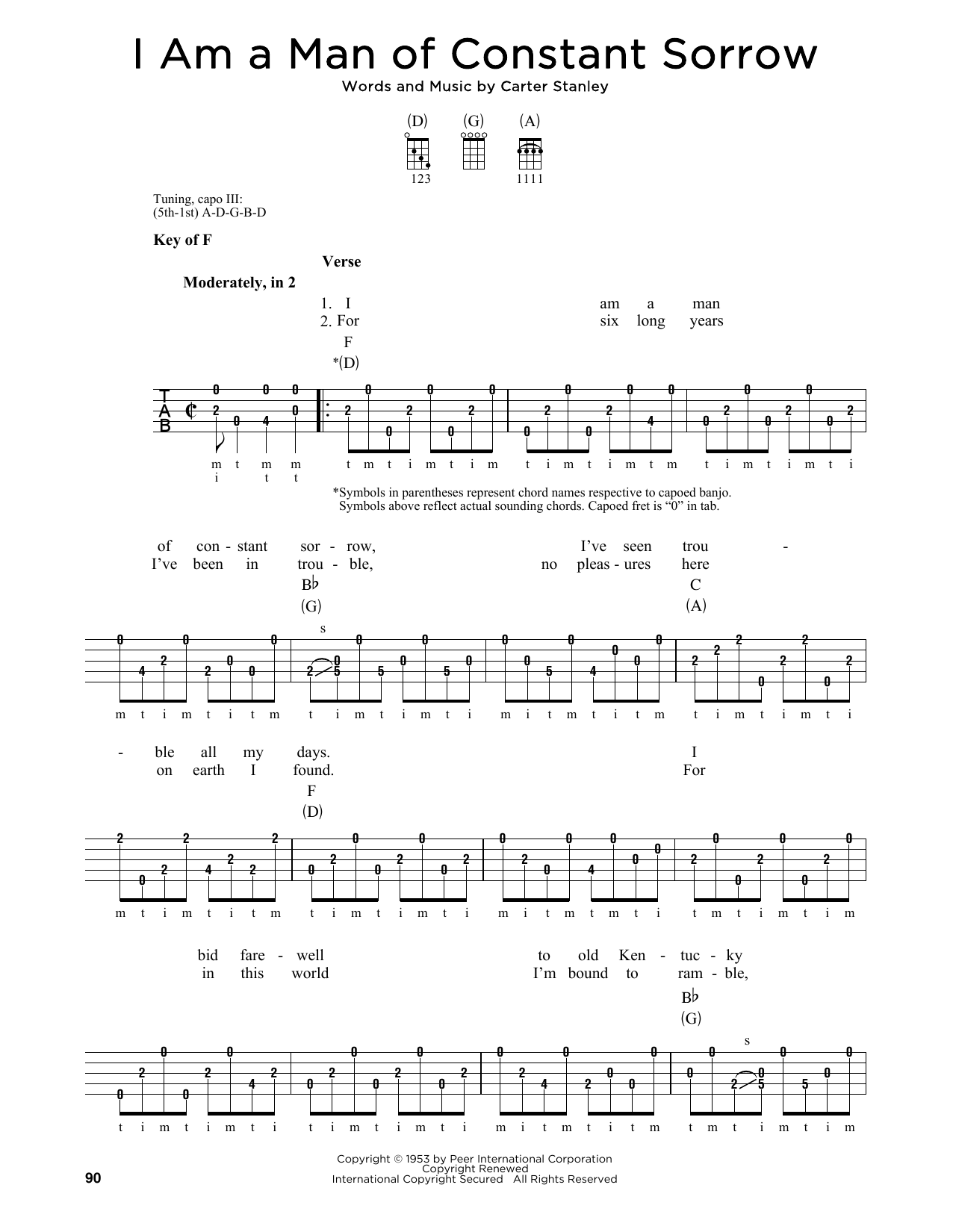 Carter Stanley I Am A Man Of Constant Sorrow sheet music notes and chords. Download Printable PDF.