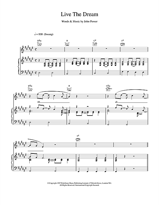Cast Live The Dream sheet music notes printable PDF score